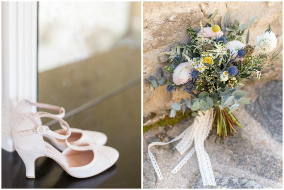 chaussures et bouquet de la mariée au domaine de vavril