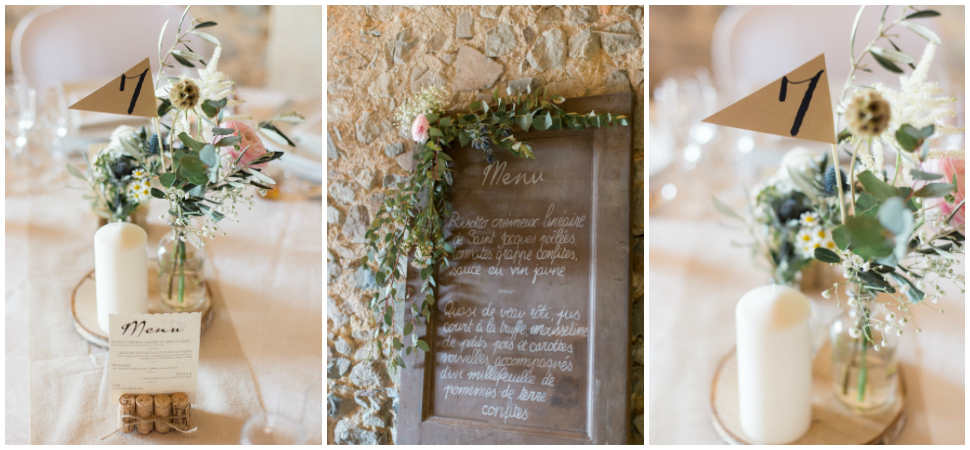 décoration de table mariage au domaine de vavril