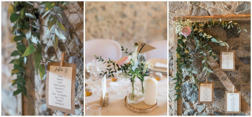 décoration de tables de mariage au domaine de vavril