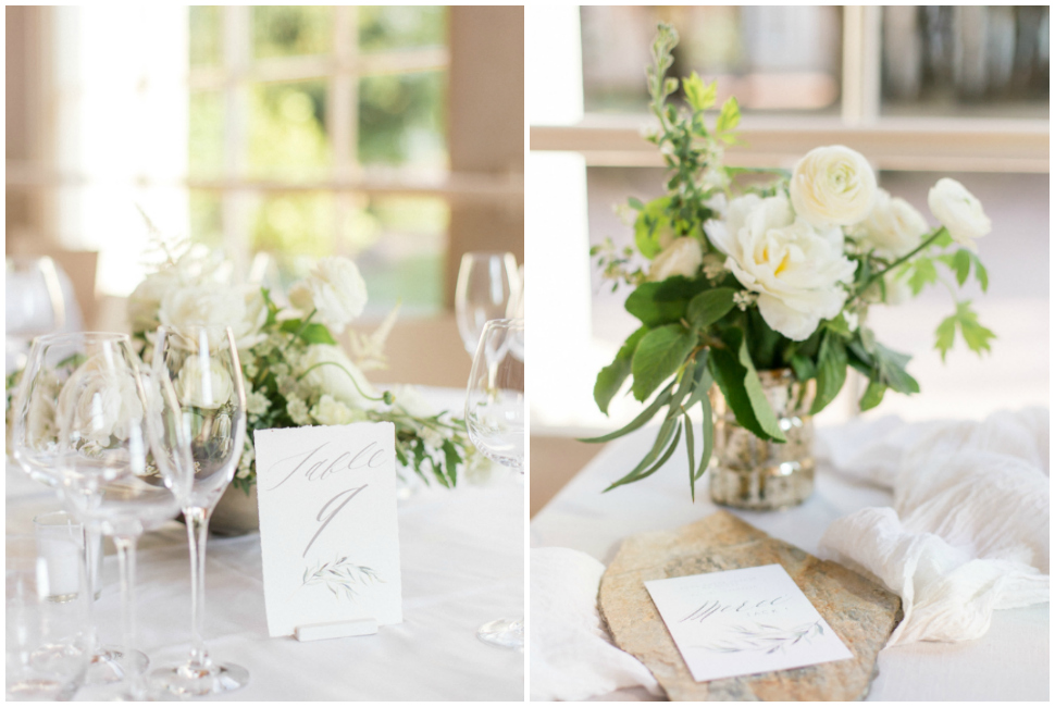 décoration de table fleurie dans l'orangerie du chateau des ravatys