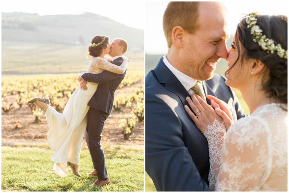 photos de couple des mariés à la fin de la journée