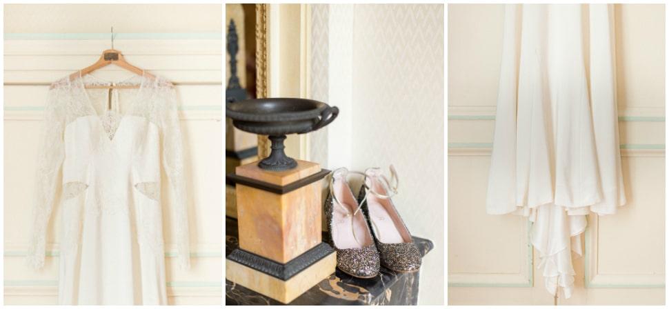 robe et chaussures de la mariée au chateau des ravatys
