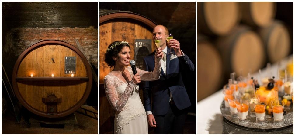 cocktail de mariage dans le chai au chateau des ravatys