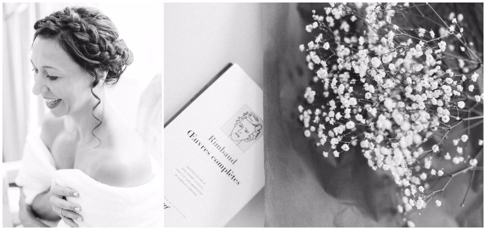 préparatifs de mariage en noir et blanc