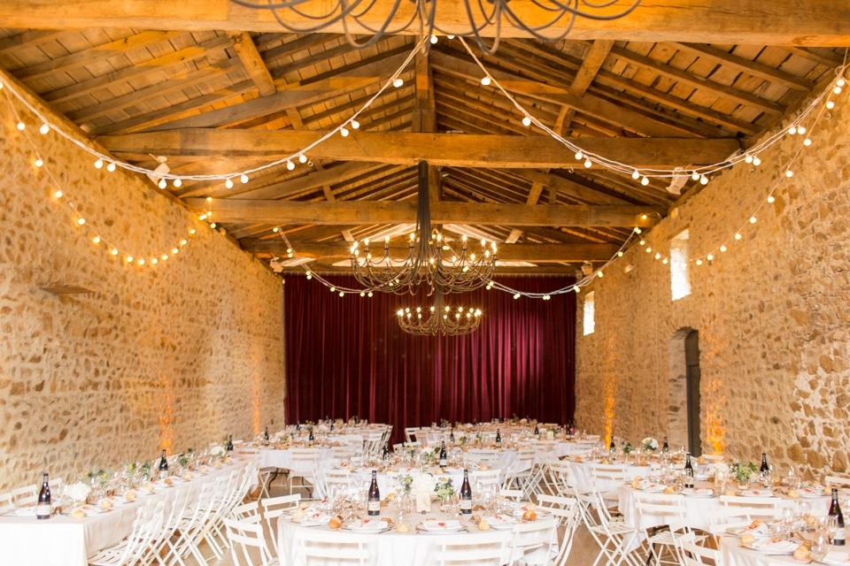 salle du diner de mariage au Château de Saint Marcel de Félines