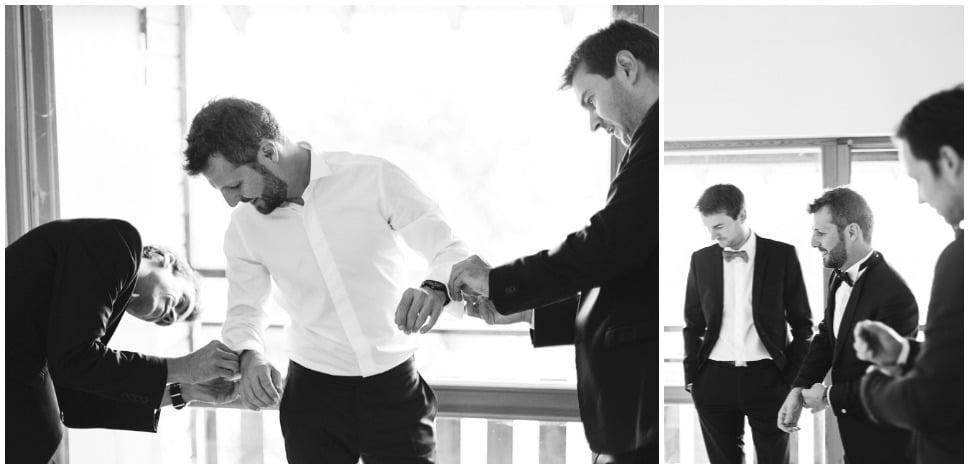 préparatifs du marié en noir et blanc dans la loire