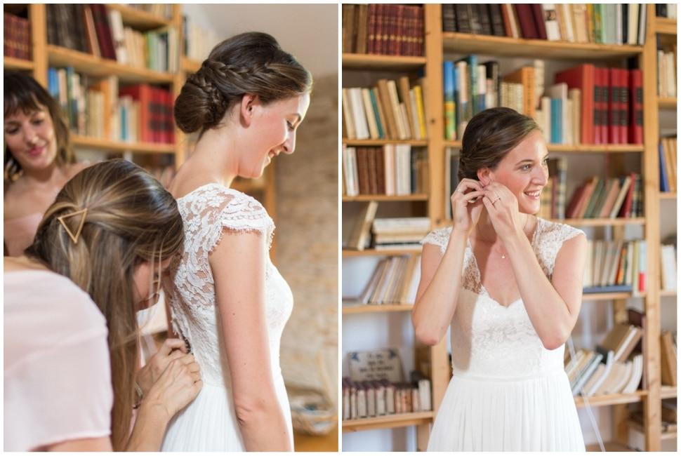 habillage de la mariée dans la maison familiale en bourgogne