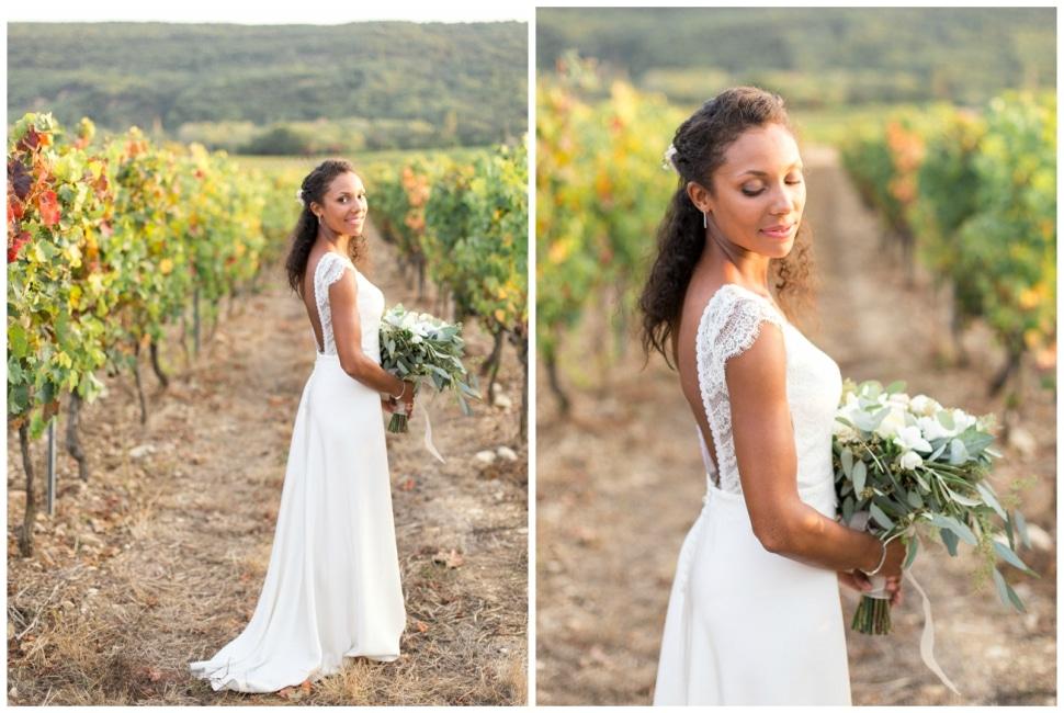 photos de la mariée dans les vignes dans la drome près de grignan