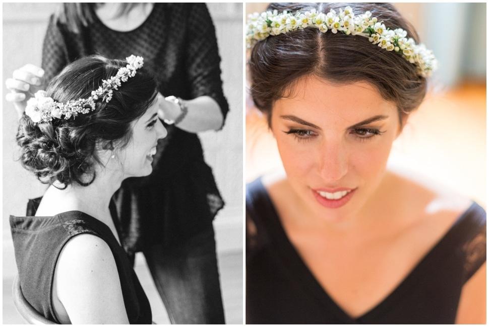 coiffure de la mariée au chateau des ravatys
