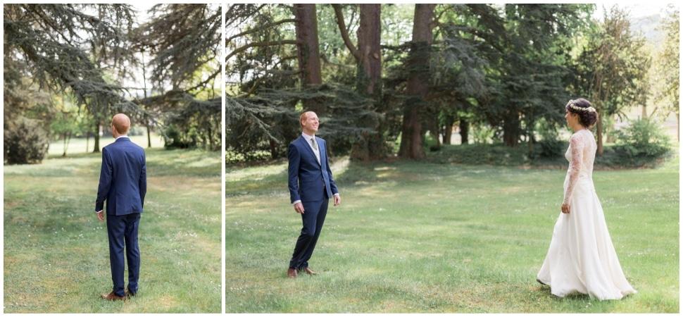 découverte des mariés dans le parc du chateau des ravatys