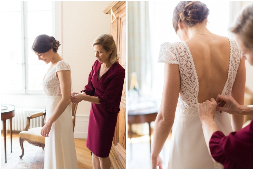 habillage de la mariée à la maison prosper maufoux santenay