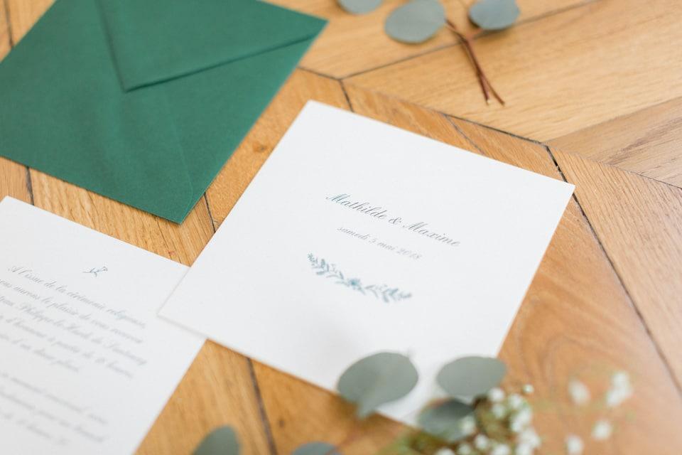 faire part de mariage vert et blanc