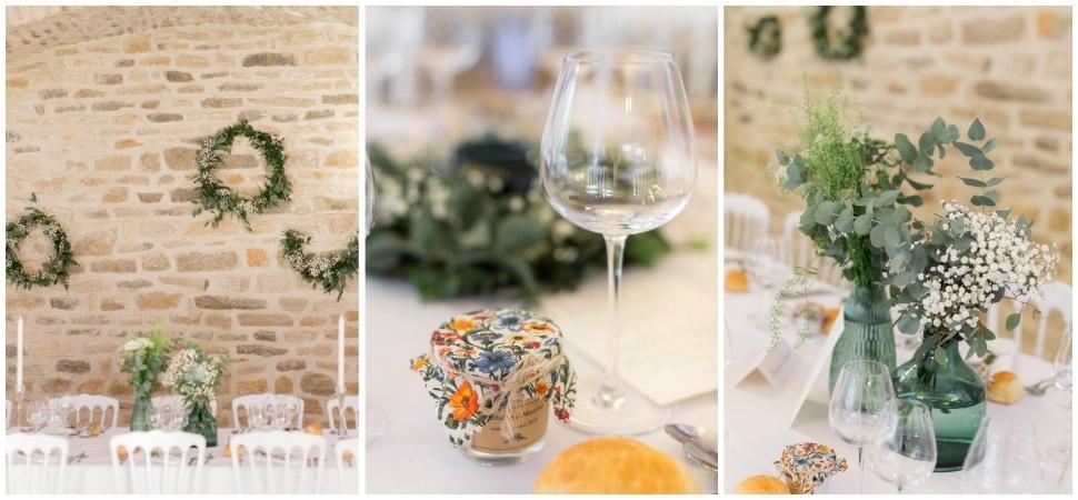 décor des tables au chateau de santenay en bourgogne