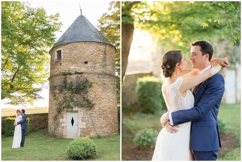 photos de couple des mariés au chateau de santenay en bourgogne