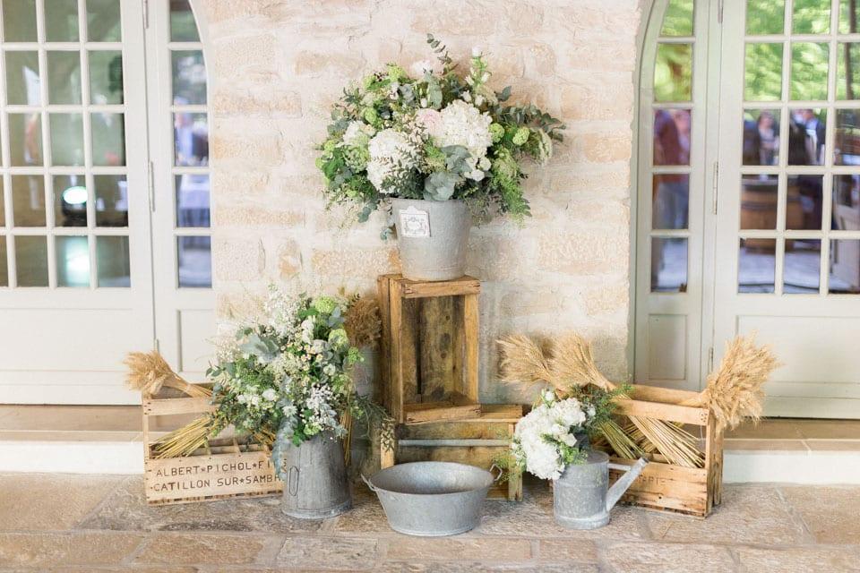 décoration de mariage champêtre au chateau de santenay en bourgogne