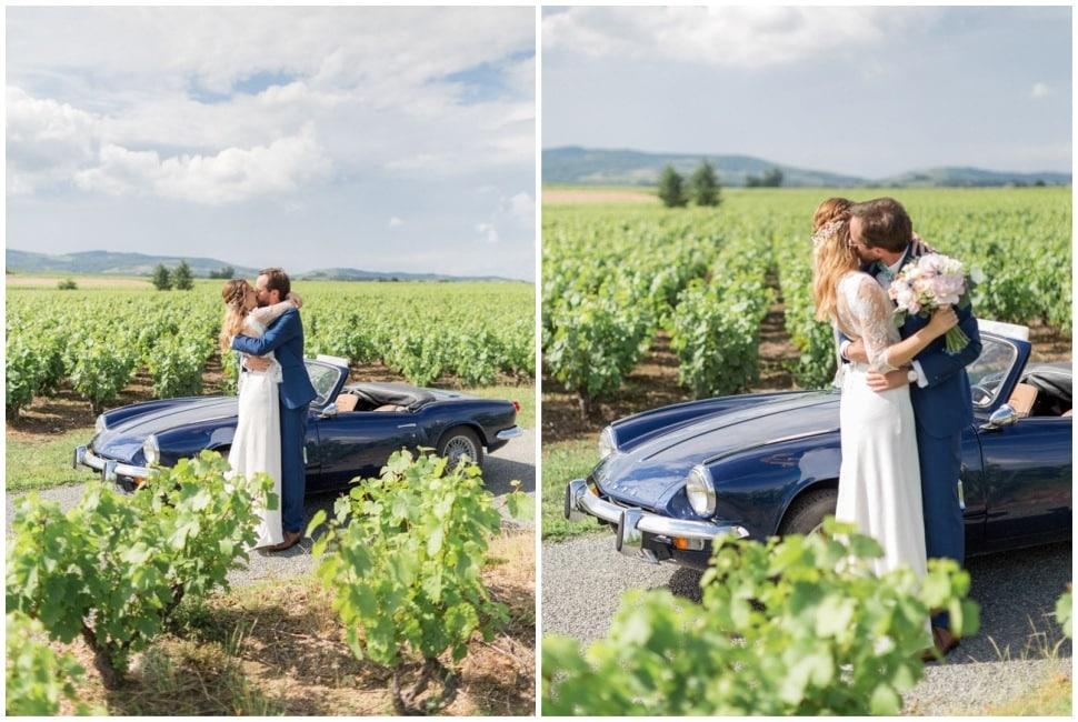 photos de couple dans les vignes dans le beaujolais