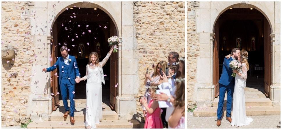 sortie des mariés après la cérémonie religieuse à lyon