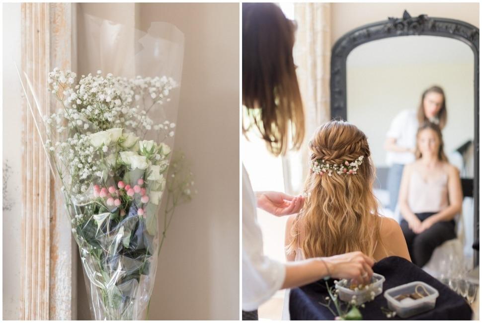 coiffure de la mariée au gîte du chateau des ravatys