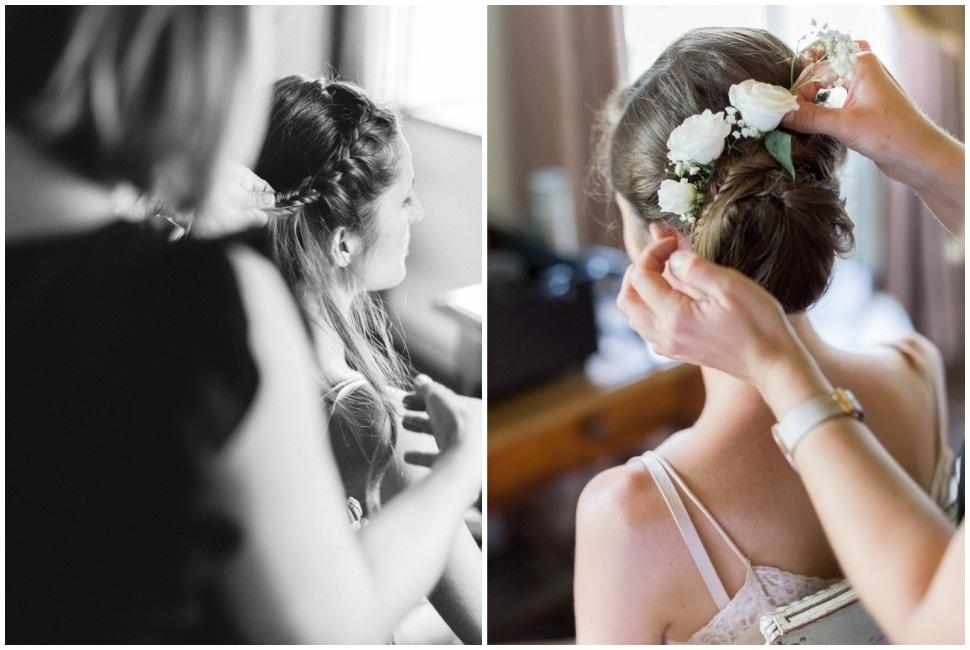coiffure de la mariée au chateau du bourg à perreux
