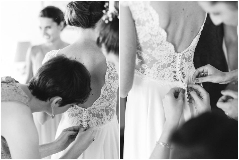 habillage de la mariée au chateau du bourg à perreux