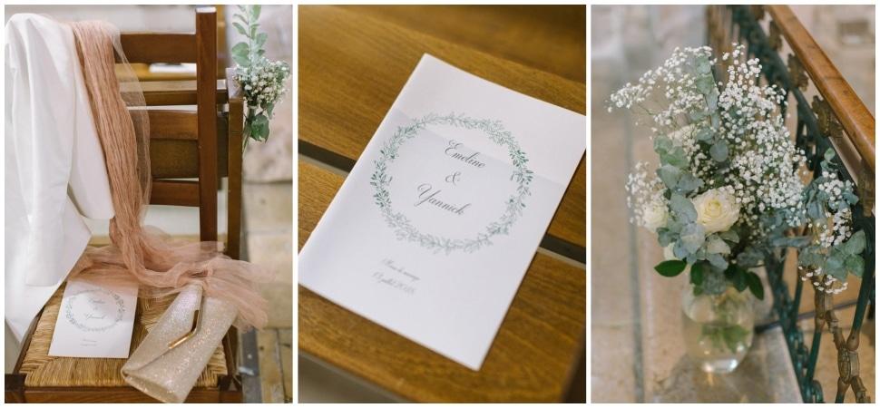 détails de la décoration de mariage à l'abbatiale de st chef