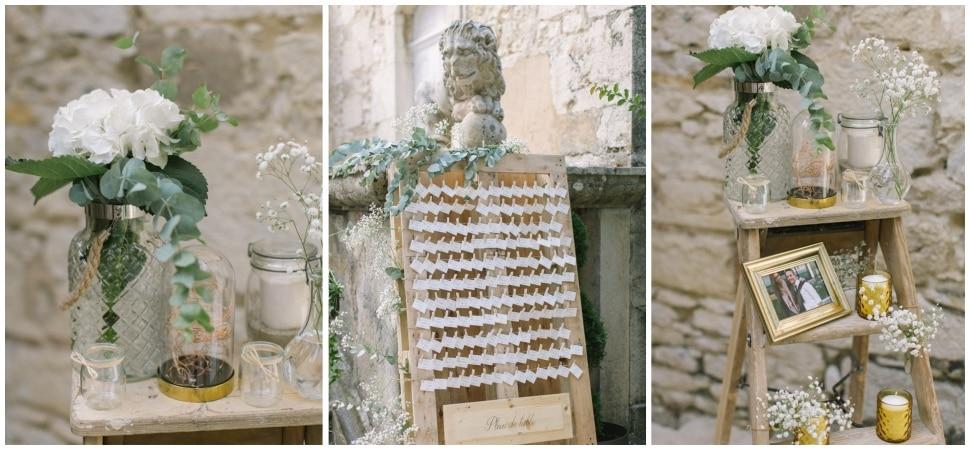 décor de mariage au chateau de chapeau cornu