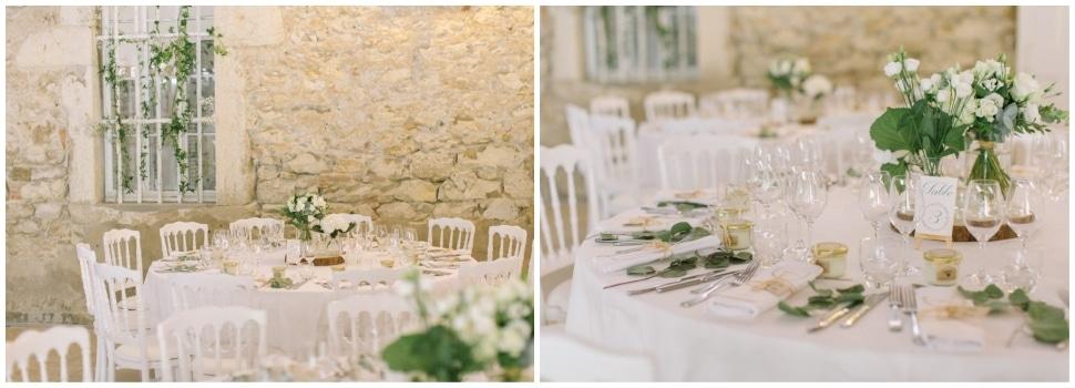 décor des tables de mariage au chateau de chapeau cornu