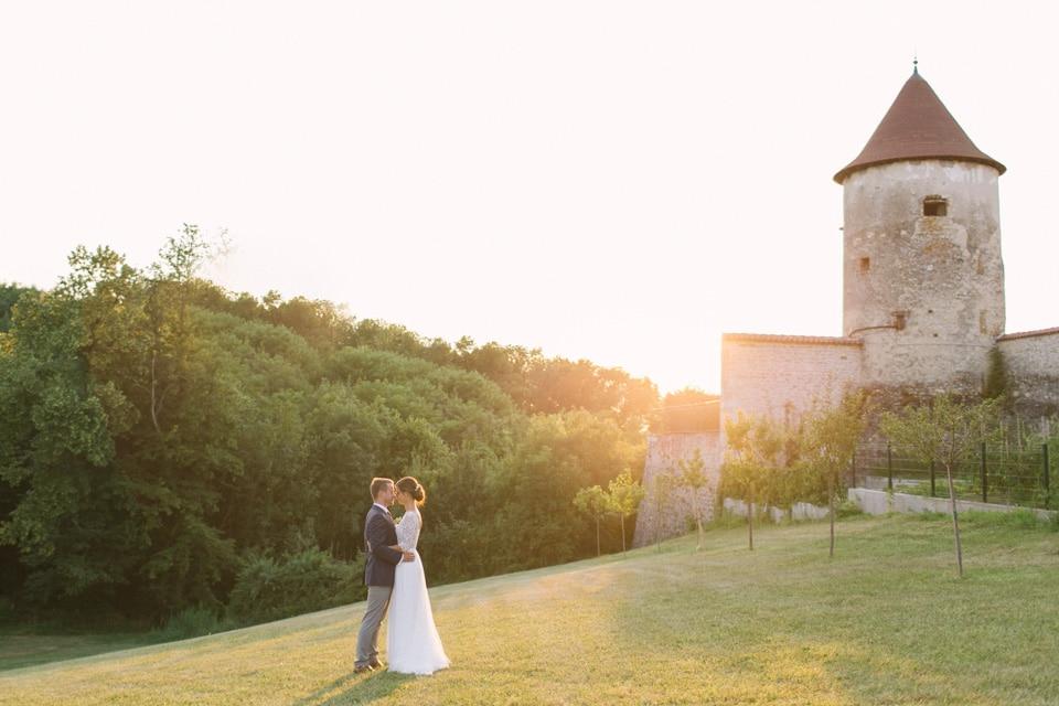 photo de mariage chateau de chapeau cornu