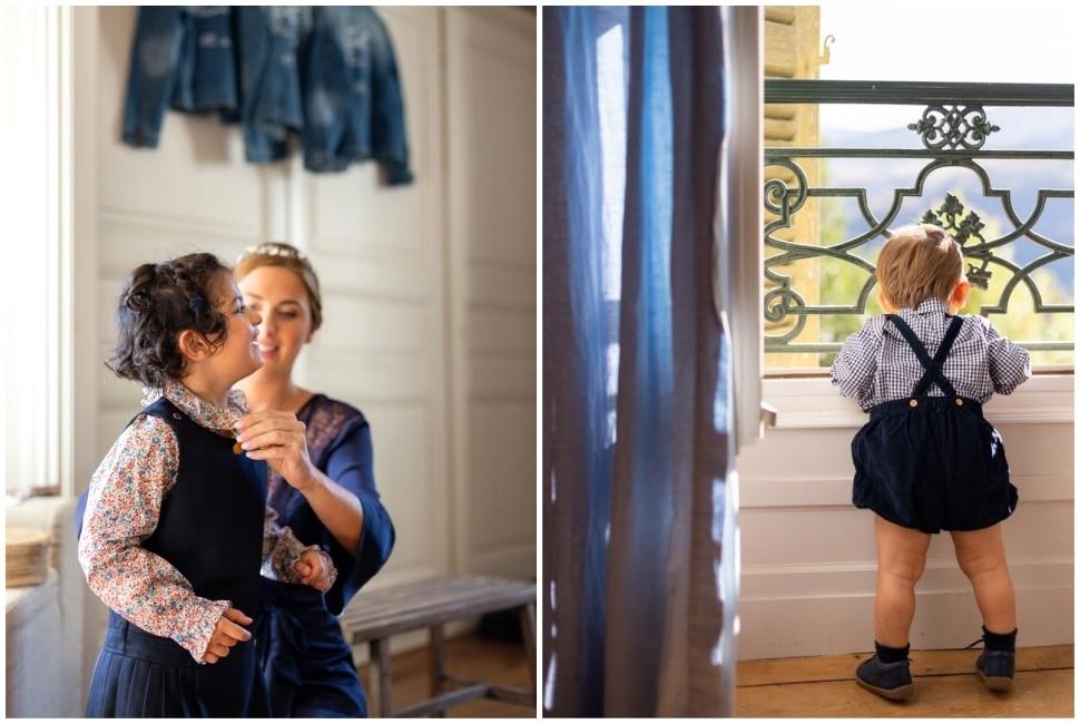 les enfants des mariés pendant les préparatifs au domaine de vavril