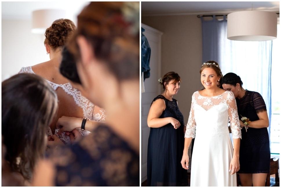 habillage de la mariée au domaine de vavril dans le beaujolais