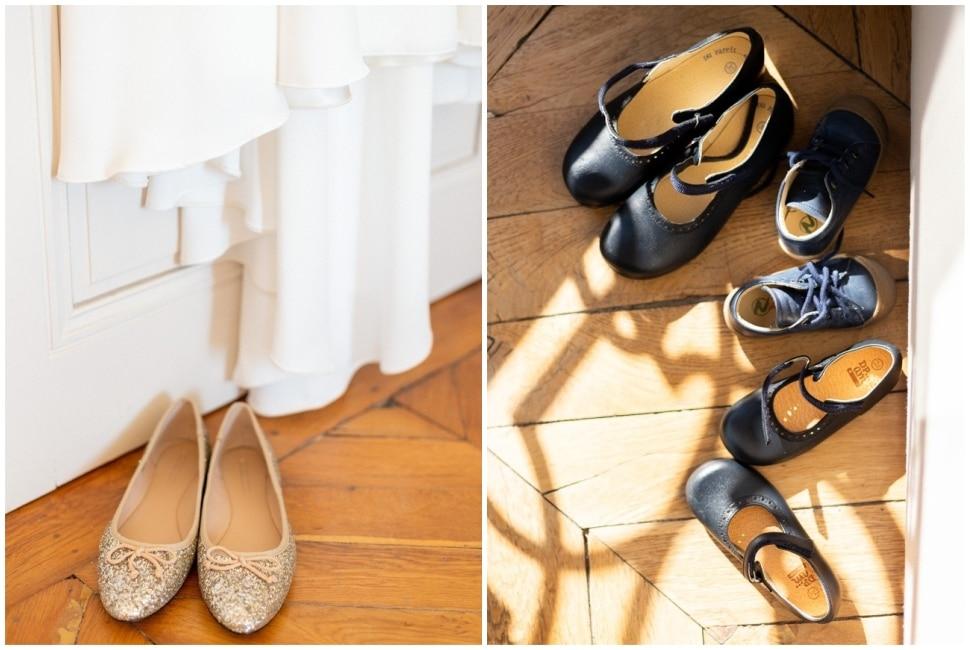 les chaussures de la mariée et de ses enfants