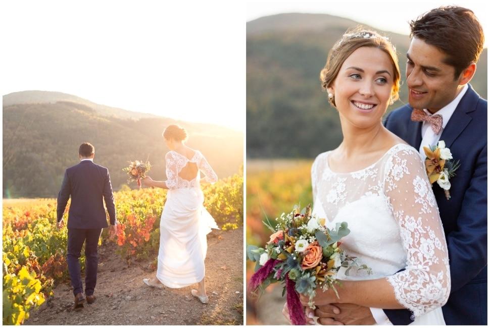 séance photo de mariage dans les vignes du domaine de vavril en automne