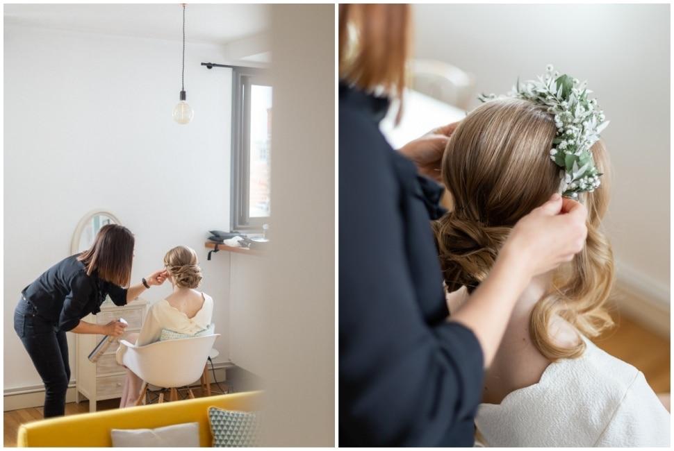 coiffure de la mariée dans son appartement à lyon