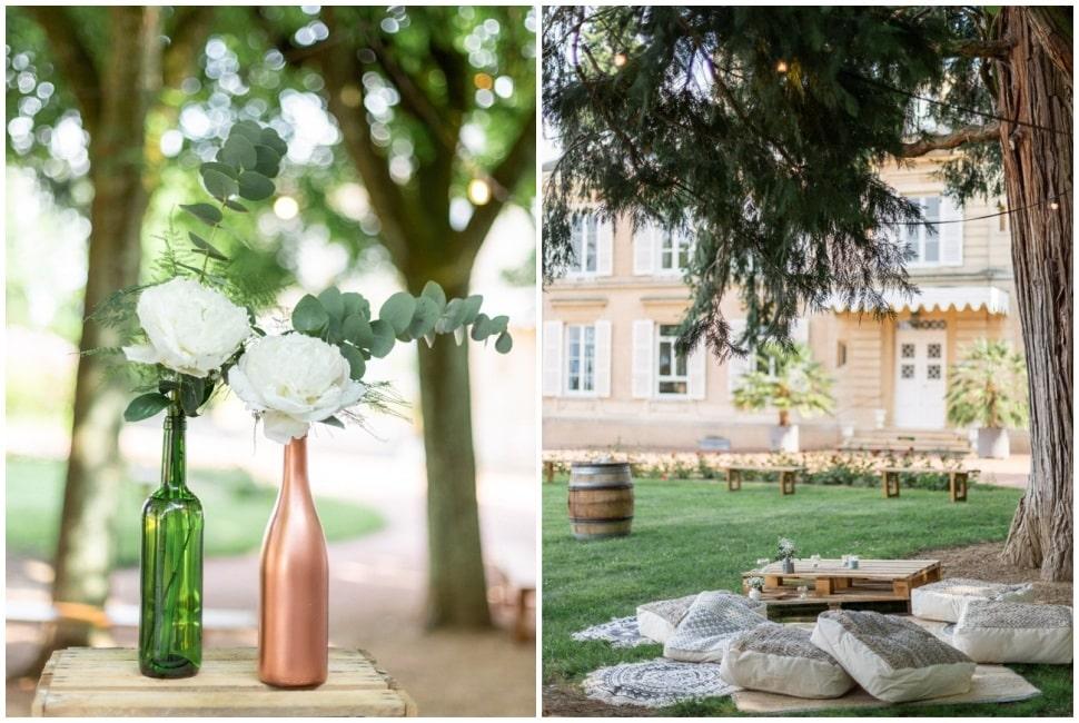 décor de mariage bohème au chateau des ravatys dans le beaujolais