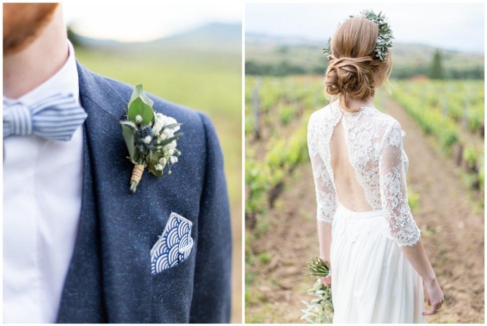 les mariés dans les vignes du chateau des ravatys dans le beaujolais