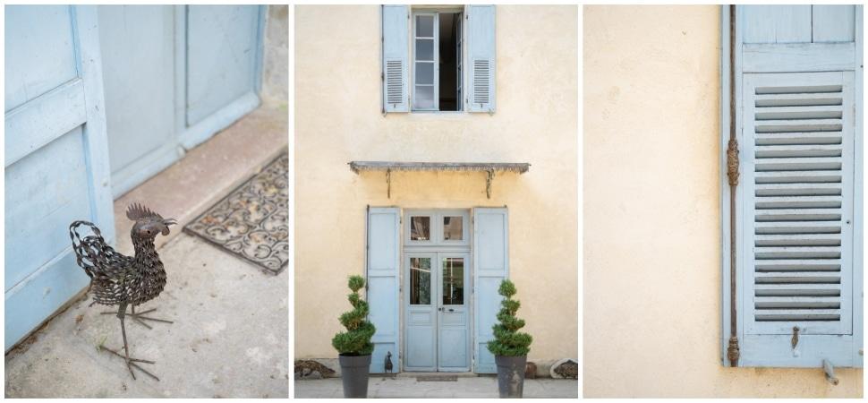 détails du chateau de barbirey et ses volets bleu pastel