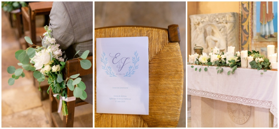 décoration de mariage de l'église st amour bellevue dans le beaujolais