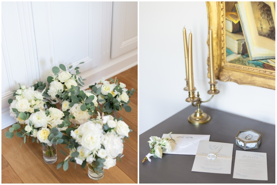 le bouquet de la mariée et ses demoiselles d'honneur et le faire part de mariage