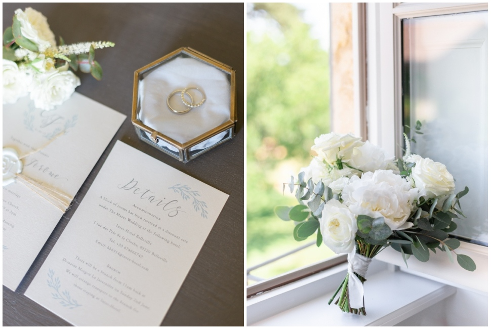 papeterie de mariage, alliances et bouquet de la mariée lors des préparatifs à morgon la javerniere