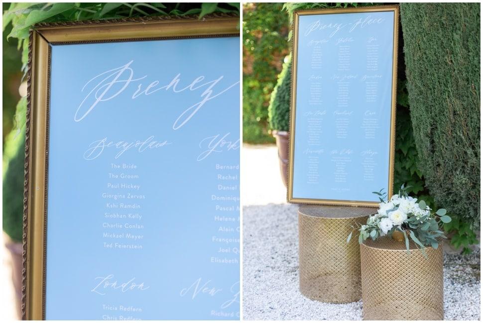 plan de table calligraphie au domaine morgon la javernière