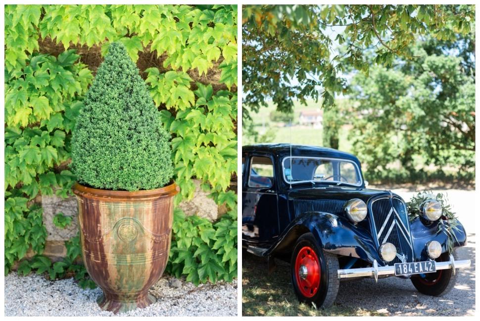 mariage au domaine de la javerniere et voiture des mariés