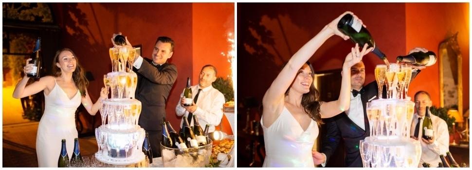 fontaine a champagne durant la soirée de mariage à la javernière