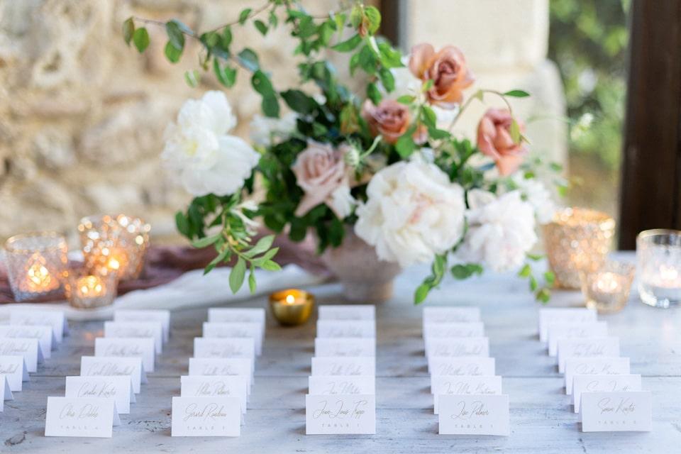 composition florale du plan de table de mariage