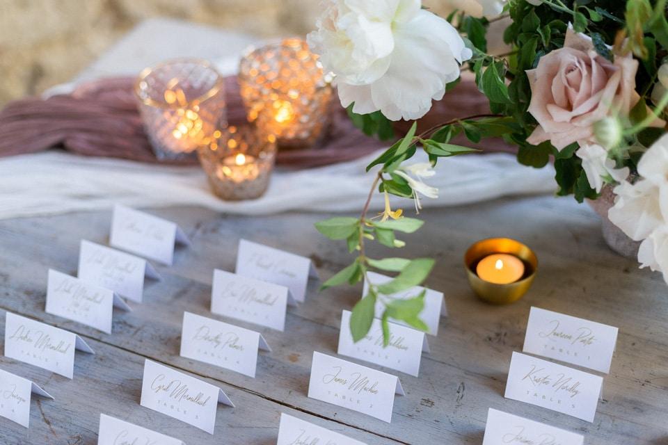 plan de table de mariage élégant