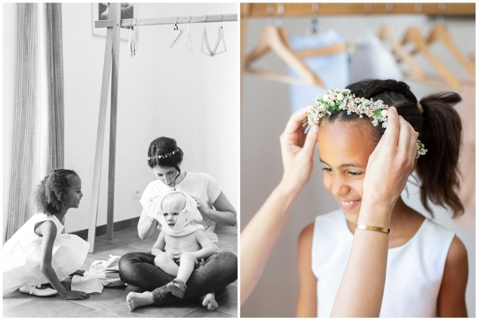 préparatifs de la mariée et habillage des enfants d'honneur