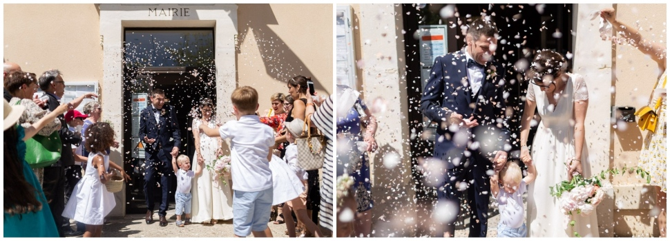 sortie des mariés sous les confettis à la mairie dans la drome