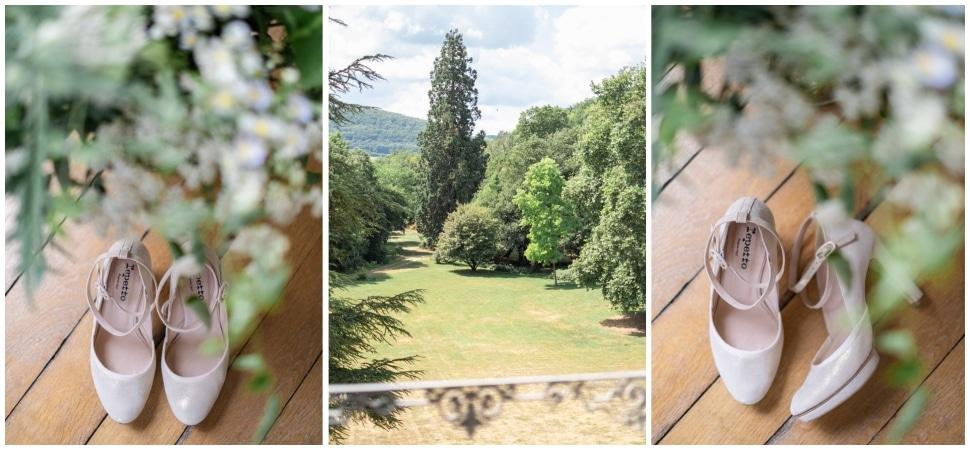 les chaussures de la mariée au chateau de barbirey en bourgogne