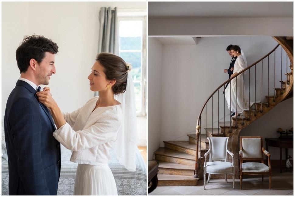 découverte des mariés avant la cérémonie de mariage en bourgogne