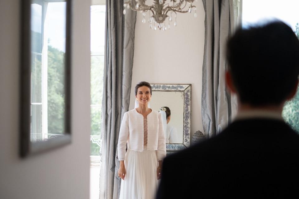 découverte des mariés au chateau de barbirey avant la cérémonie