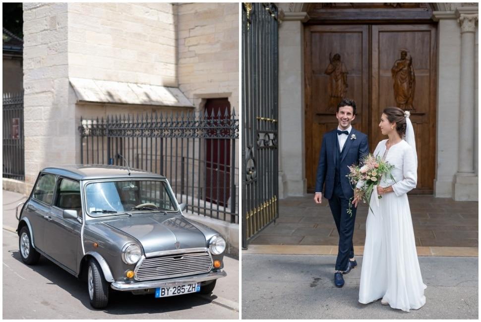 sortie des mariés après la cérémonie de mariage en bourgogne